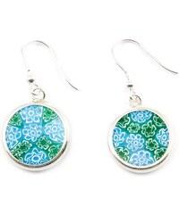 Murano Náušnice skleněná - stříbro 925 - modrá, smaragdová - Millefiori 14