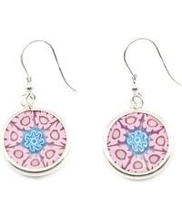 Murano Náušnice skleněná - stříbro 925 - růžová, modrá - Millefiori 14