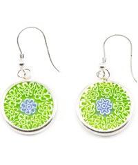Murano Náušnice skleněná - stříbro 925 - zelená, modrá - Millefiori 14