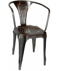 Industrial style, Vintage kovová židle - lesklá pozinkovaná 77 x50 x40 / sedadlo 46 cm (327)