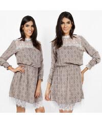 Lesara Kleid mit Spitze an Kragen & Saum - S
