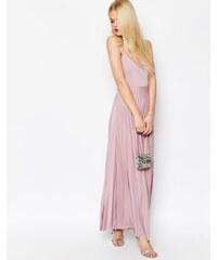 ASOS - Robe longue caraco à jupe plissée - Gris