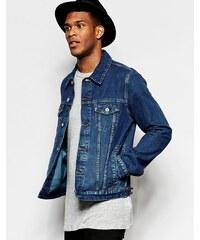 ASOS - Schmal geschnittene Jeansjacke in mittelblauer Waschung - Blau