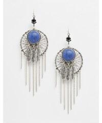 ASOS - Boucles d'oreilles attrape-rêves à plumes et pierres semi-précieuses - Bleu