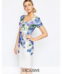 Hope and Ivy - Bleistiftkleid mit Blumenprint und Bogenkante - Mehrfarbig