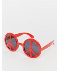 Jeepers Peepers - Lunettes de soleil originales avec monture motif symbole de la paix - Rouge