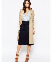 Warehouse - Jupe en jean avec lien à la taille - Bleu
