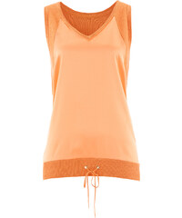 bpc selection premium Premium Strick-Top mit Web-Einsatz ohne Ärmel in orange für Damen von bonprix