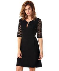 001 Společenské černé šaty s krajkovými rukávy