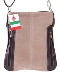 Genuine Leather Kožené kabelky listonošky přírodní semiš béžová