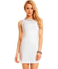 Společenské šaty Lovie s náhrdelníkem - bílé