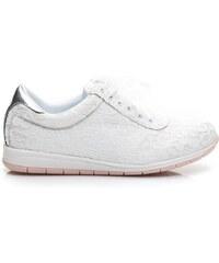 VICES Módní bílé krajkové tenisky