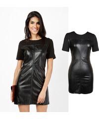 Lesara Kurzes Kleid mit Kunstleder - M