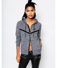 Nike - Windjacke mit Kapuze aus hochwertigem Strick mit Reißverschluss - Grau