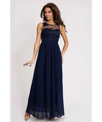 Dámské společenské šaty plesové EVA LOLA dlouhé tmavě modré