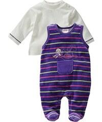 Schnizler Baby - Mädchen Strampler Nicki, Schaukelpferd Gestreift, 2-tlg. Set, Langarmshirt