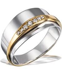 goldmaid Damenring 925/- Sterlingsilber mit 585/- Gelbgoldanteil 7 Brilla