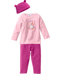 bpc bonprix collection Brassière bébé croisée + pantalon + bonnet (Ens. 3 pces.) en coton bio, T. 44/50-68/74 rose manches longues enfant - bonprix