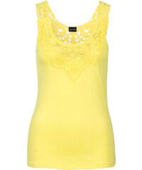 BODYFLIRT Top à dentelle jaune femme - bonprix
