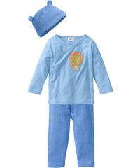 bpc bonprix collection Brassière bébé croisée + pantalon + bonnet (Ens. 3 pces.) en coton bio, T. 44/50-68/74 bleu manches longues enfant - bonprix