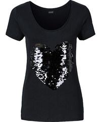 BODYFLIRT Shirt mit Herz aus Pailletten in schwarz für Damen von bonprix
