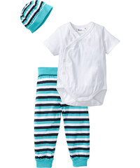 bpc bonprix collection Body bébé manches courtes + pantalon + bonnet (Ens. 3 pces.) en coton bio, T. 44/50-68/74 blanc enfant - bonprix