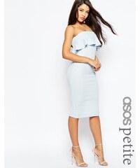 ASOS PETITE - Strukturiertes, mittellanges Bandeau-Kleid mit Rüschen - Blau