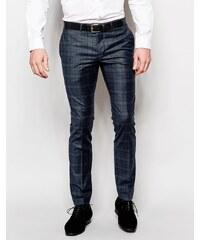 Noose & Monkey - Pantalon écossais stretch coupe ultra skinny - Bleu