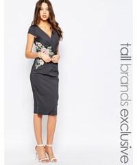Paper Dolls - Tall - Wickelkleid mit tiefem Ausschnitt und blütenbestickter Taille - Grau