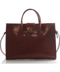 Luxusní kožená aktovka kabelka červená - Italy Gabriela červená