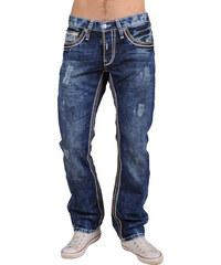Pánské tmavé džíny RUSTY NEAL s kontrastními prvky