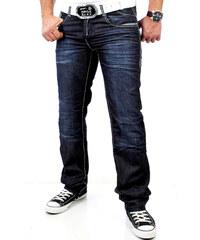 Pánské tmavé džíny RUSTY NEAL s ornamenty