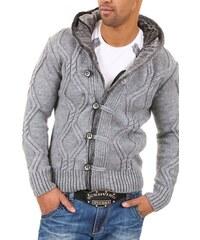 Pánský šedý svetr s kapucí CARISMA