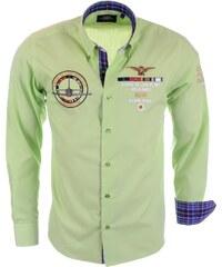 Pánská zelená košile BINDER DE LUXE s výšivkami