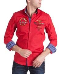 Pánská červená košile BINDER DE LUXE s výšivkami