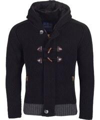 Pánský černý svetr REROCK s kapucí