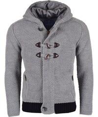 Pánský šedý svetr REROCK s kapucí