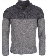 Pánský šedý melírovaný svetr VOLCANO