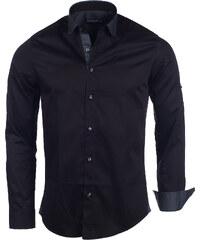 Pánská černá slim košile Young & Rich Insane