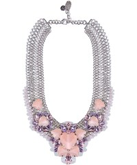 Dámský kovový náhrdelník Q2 s růžovými krystaly