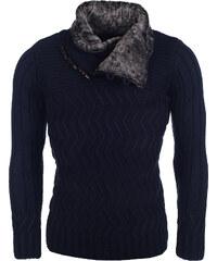 Pánský tmavě modrý svetr CARISMA s kožešinkou