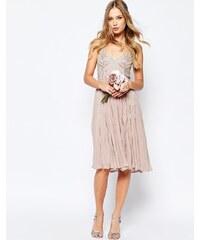 ASOS WEDDING - Robe caraco mi-longue ornementée - Beige