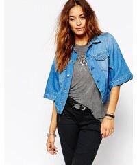 Diesel - Veste en jean style kimono - Bleu