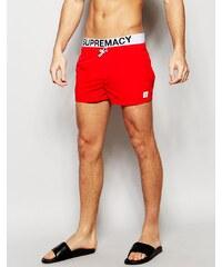 Supremacy - Badeshorts mit beidseitig verstellbarem Taillenbund und Logo - Rot