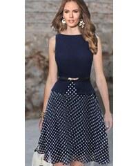 001 Letní modréí šaty s puntíky