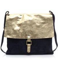 Genuine Leather Módní kožená kabelka listonošky Tmavě modrá Gold