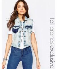 Noisy May Tall - Gilet en jean avec patch - Bleu