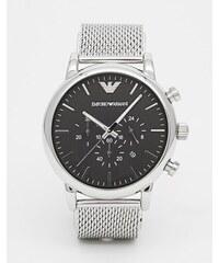 Emporio Armani - AR1808 - Montre chronographe avec bracelet en maille et acier inoxydable - Argenté