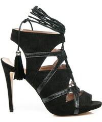 WILADY Efektní černé sandály s vázáním
