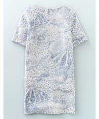 Unkompliziertes Leinen-Tunikakleid Elfenbeinfarben Damen Boden